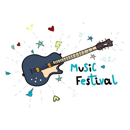 Illustration pour un festival de musique avec une guitare électrique. Les illustrations peuvent être utilisées pour les bannières et les sites Web