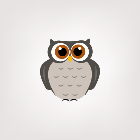A wise and decorative owl with grey feathers. Modern logo of the company and enterprises.