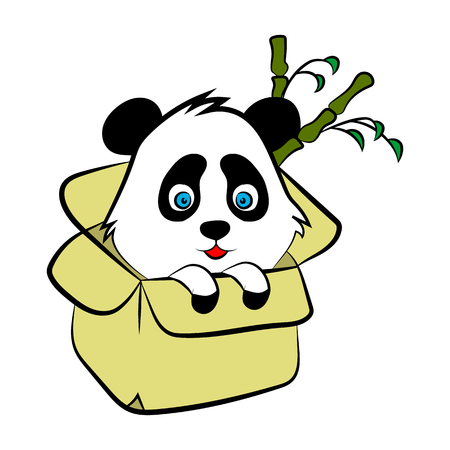 Cute Panda in a box, vector. Animal logo for website and poster.