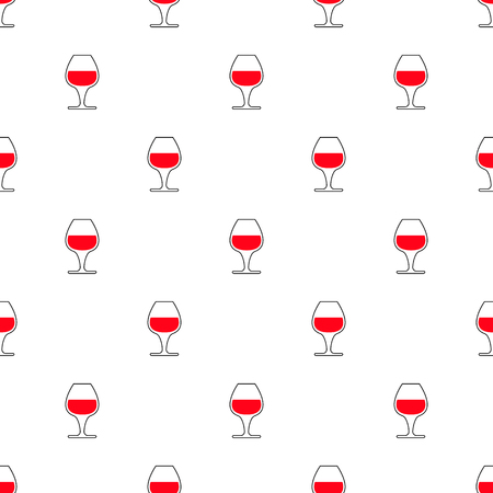 Pattern with red wine glass silhouettes. Vector illustration.