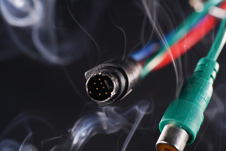 Hot run electrical cable with black background