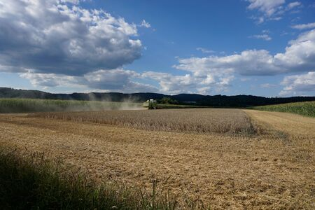With modern machines, working in agriculture is much easier, here a combine harvester Stock fotó