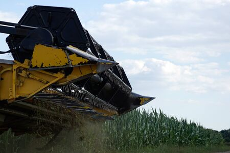 With modern machines, working in agriculture is much easier, here a combine harvester