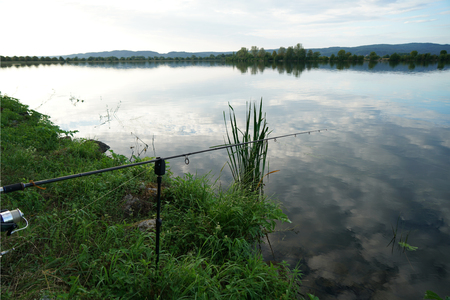 Fishing in Germany on a warm summer evening on the Danube