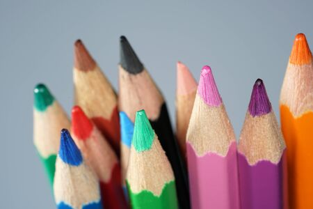Pencil and colored pencils photographed in the studio in the best quality