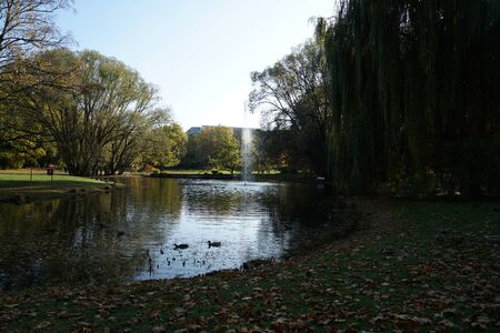 Fountains and garden pond in a public park invite you to relax