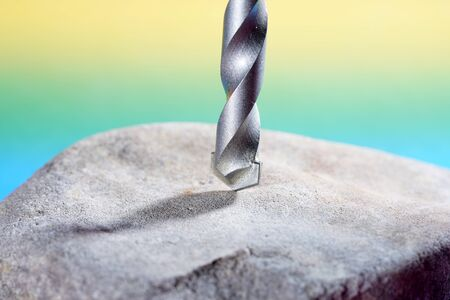 Stone drill with point for drilling in natural stone and concrete photographed in the studio