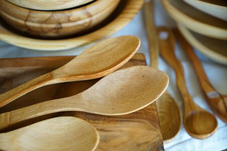 Wooden spoons made from local wood look good and are easy to use in the kitchen Banco de Imagens