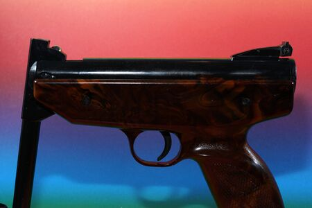 Air pistol with ammunition for sports shooters in caliber 4.5 mm Photographed in the studio 스톡 콘텐츠