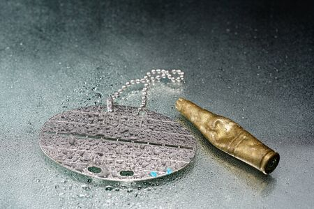 Dog tag with water drops and empty practice ammunition pods photographed in the studio Zdjęcie Seryjne