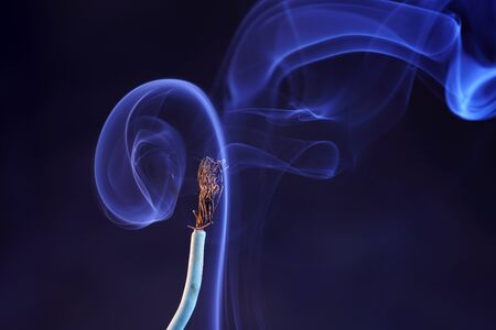Electric wires with smoke photographed in the studio