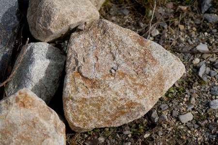 Granite is rich in quartz, mica and feldspar photographed in daylight in Bavaria