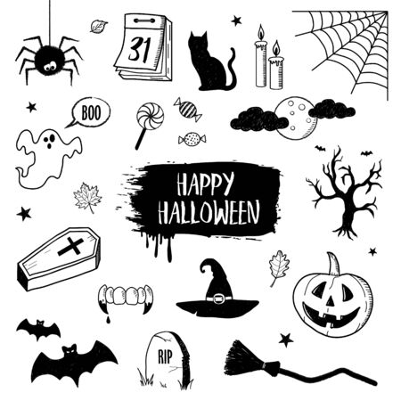 Set of the Halloween hand drawn vector doodles on a white background. Halloween black and white scope Illustration