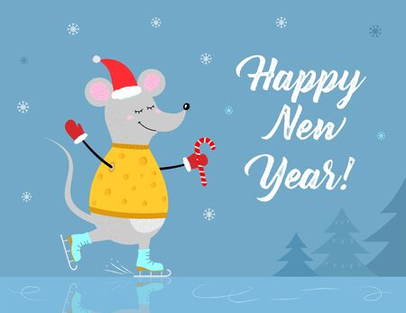 Christmas vector cart with funny mouse skating in yellow cheese sweater