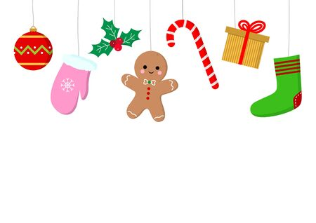 Set of Christmas vector objects on a white background
