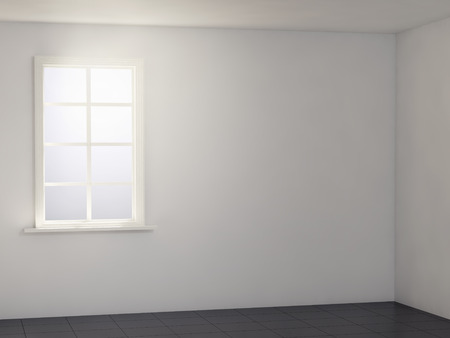 render: light white room with black floor. 3d render