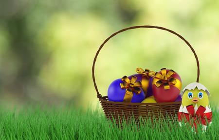 bantam hen: chicken in a easter egg in basket. 3d render