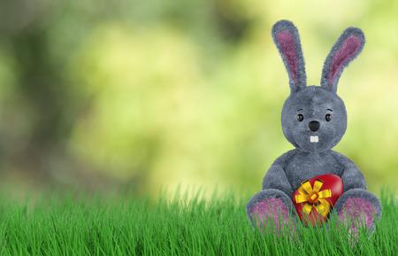 nest egg: Cute Rabbit and easter eggs. 3d rendering Stock Photo