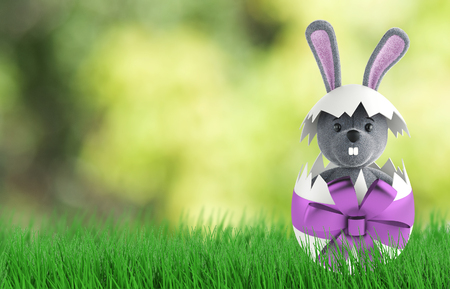 Cute Rabbit and easter eggs. 3d rendering Stock Photo