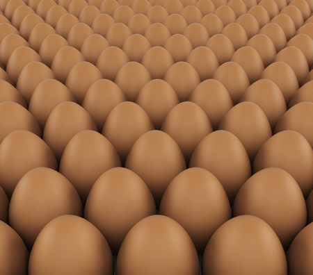 aliments: background of fresh eggs for sale. 3d rendering Stock Photo