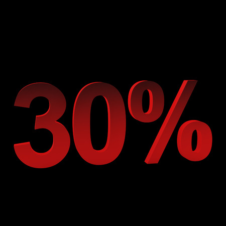30 percent off, 3d render. Isolated on black
