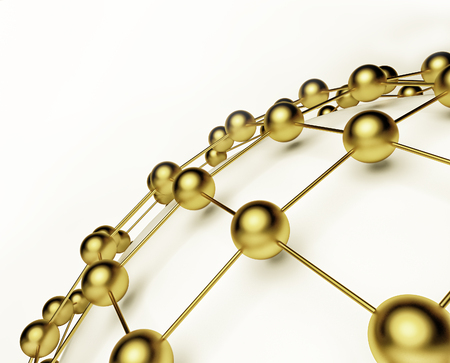 size distribution: Gold metal and glass spheres geometry background. Abstract 3d render Stock Photo