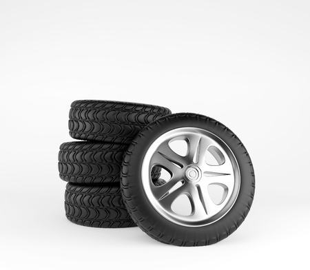 alloy: Car wheels on white background. 3d render Stock Photo