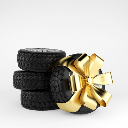 Car wheels on white background. 3d render Stock Photo