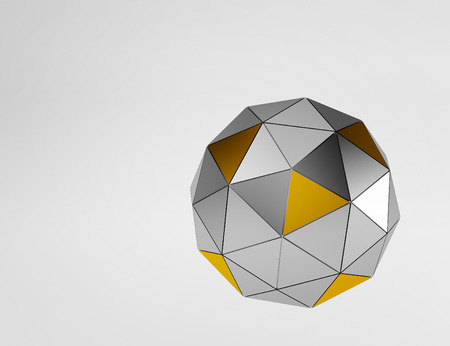 size distribution: Silver and gold metal and glass spheres geometry background. Abstract 3d render