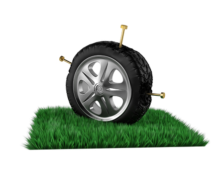 tire is damaged by nails. 3d rendering