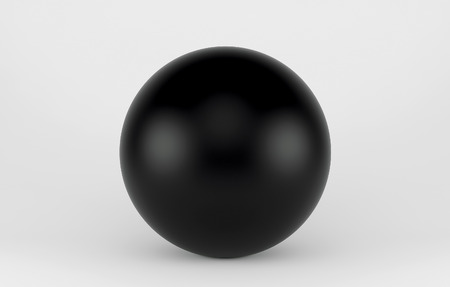surface: Black shpere pearl isolated on white background. 3d render