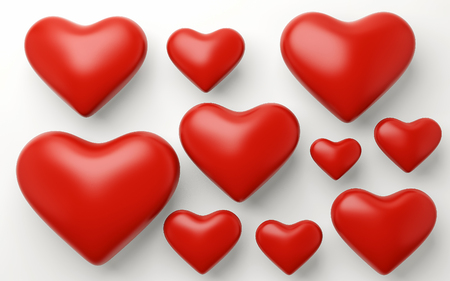A lot of red hearts on white background. 3d render Stock Photo