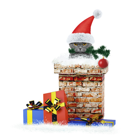Cat with christmas tree and ball climbs out of chimney. Isolated on white