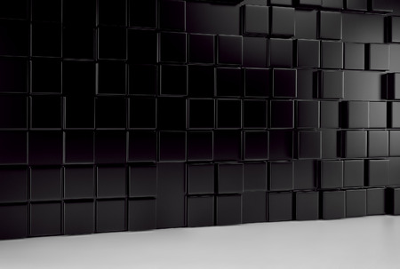Abstract background wall of black cubes and white floor. 3d rendering Stock Photo
