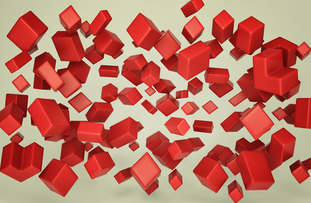 Abstract accumulation of red polygons. 3d render