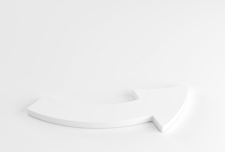 White arrow laying down on white background. 3d render Banco de Imagens
