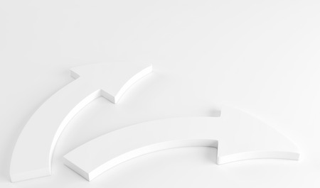 Two white arrows laying down on white background. 3d render