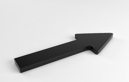 Black arrow laying down on white background. 3d render