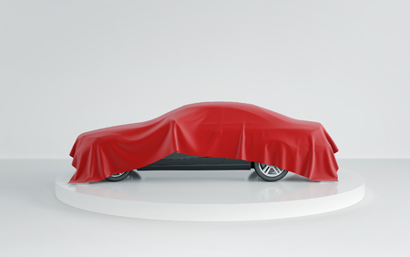 New black car hidden under red cover on white background. 3d render 스톡 콘텐츠