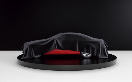 New red car hidden under black cover on black and white background. 3d render
