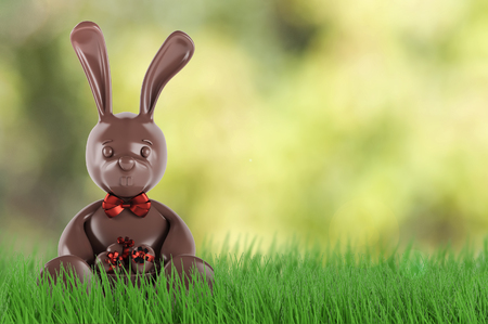 Chocolate easter bunny with eggs and red bow-knot . 3d render Stock Photo