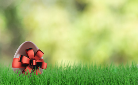 Chocolate egg with red bow-knot. 3d render