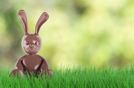 Cute chocolate easter bunny. 3 d render Stock Photo