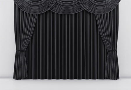 Theater stage with black curtain. 3 d render