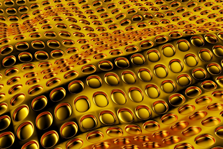 Abstract array of shinny gold polygons. 3d render
