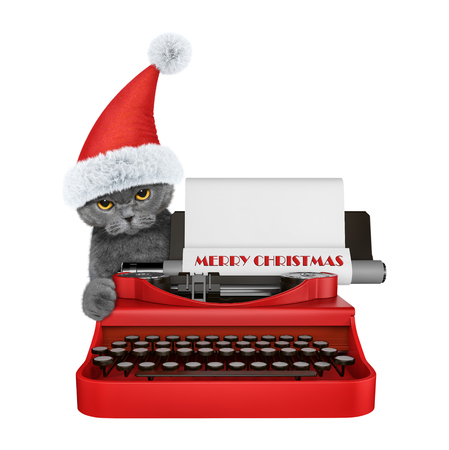 Cute santa cat is typing on a typewriter keyboard. Isolated on white