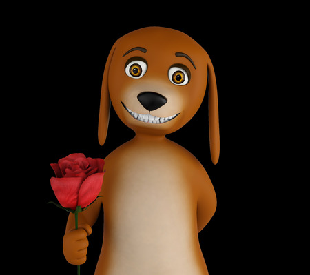 Cartoon valentines dog with a red rose in hand, isolated on black background. 3d render