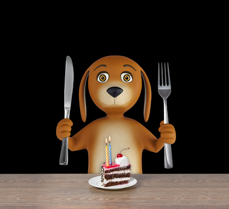 Hungry cartoon dog with cake holds a knife and fork. isolated on black background. 3d render