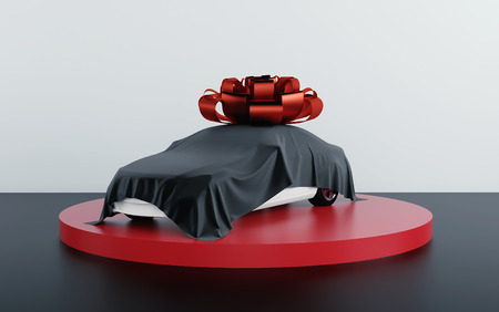 Car covered by black fabric with gift bow-knot. 3d render