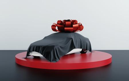 Coche cubierto de tela negra con lazo de regalo. Render 3d